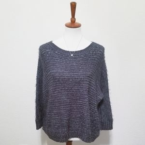 BCBG Crew Neck Knitted Oversized Hairy Sweater
